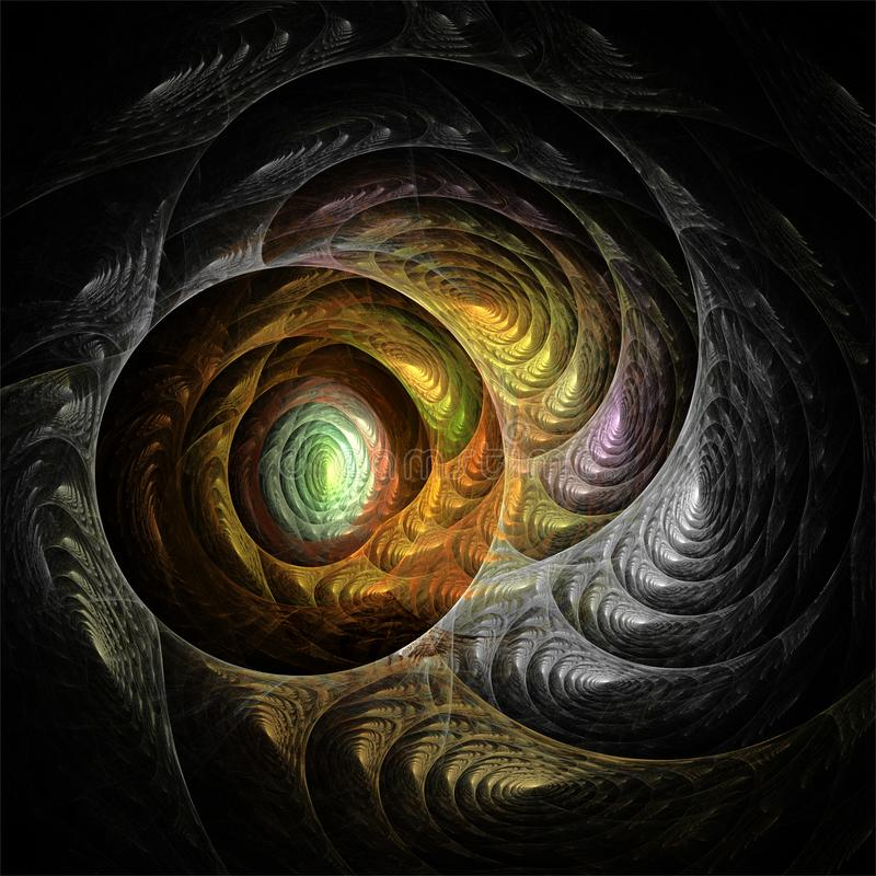 Cercles romantiques et spirales de fractale d'art de couleur d'imagination abstraite de structure illustration libre de droits