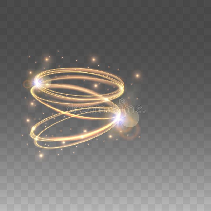 Cercles rougeoyants d'or Effets de la lumière sur le fond d'isolement Illustration de vecteur illustration stock