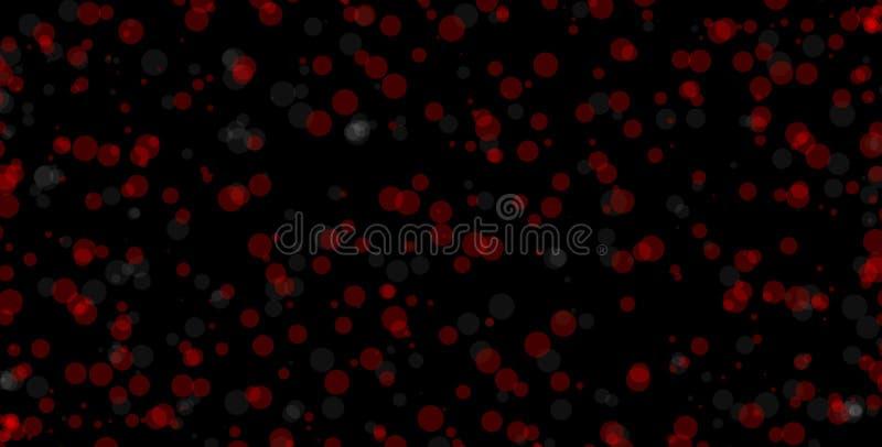 Cercles rouges et blancs sur le fond noir Illustration abstraite de fond de bokeh Belles lumières abstraites rouges illustration stock
