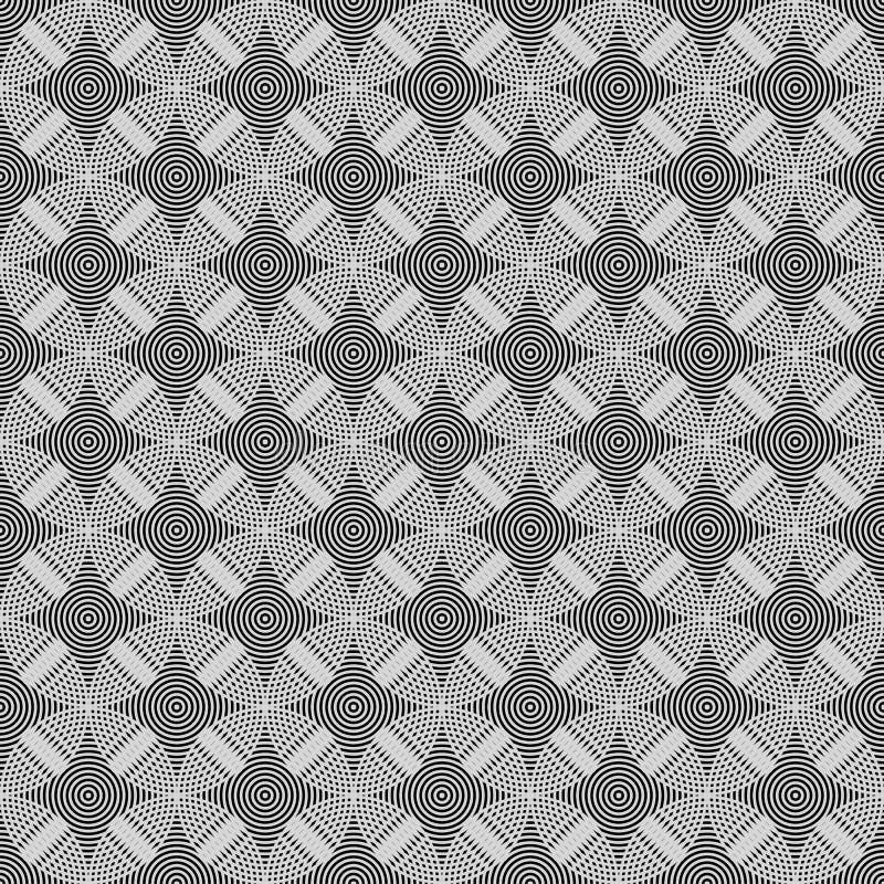 Cercles sans couture, anneaux noirs/modèle géométrique blanc illustration de vecteur