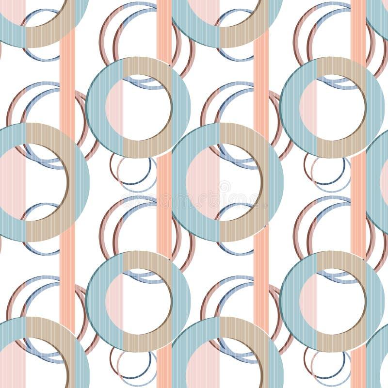 Cercles sans couture de modèle de patchwork sur le fond rayé illustration stock
