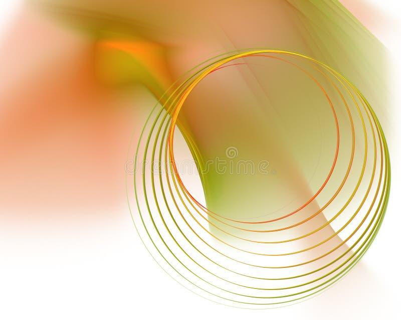 Cercles verts et oranges Fond technologique clair illustration de vecteur