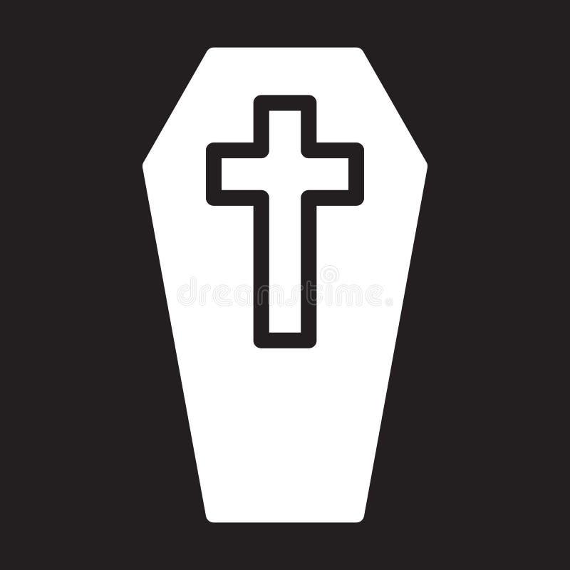 Cercueil avec l'icône croisée, illustration de vecteur illustration libre de droits