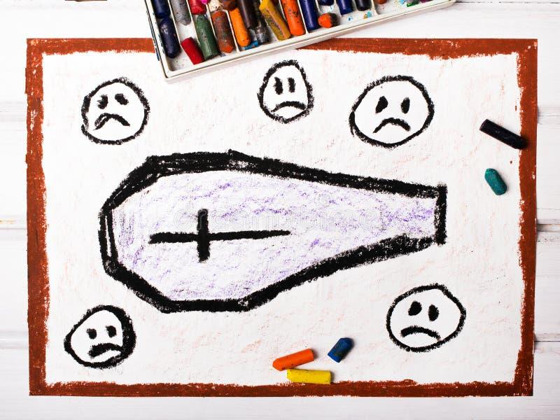 Cercueil entouré par les visages tristes illustration libre de droits