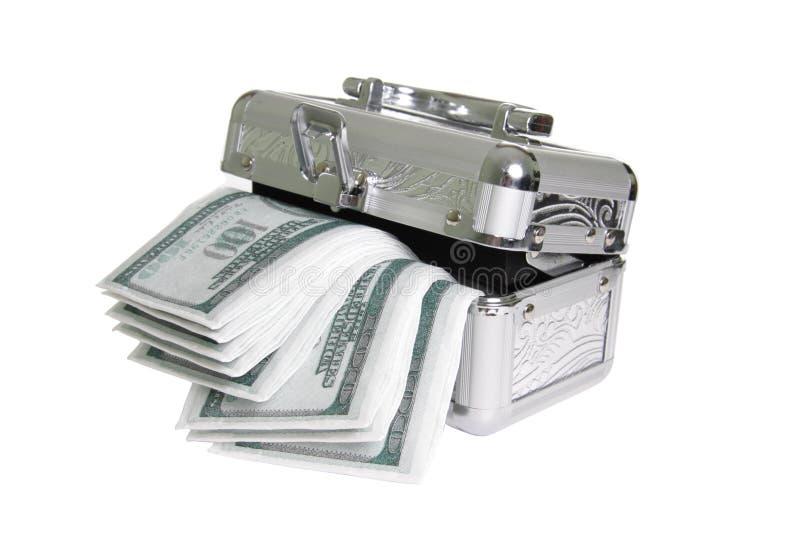 Cercueil métallique avec de l'argent faux images libres de droits