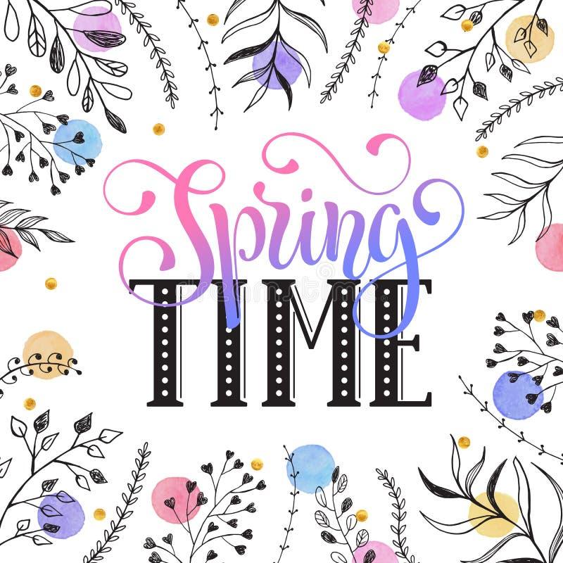 Cerd di saluto di tempo di primavera royalty illustrazione gratis