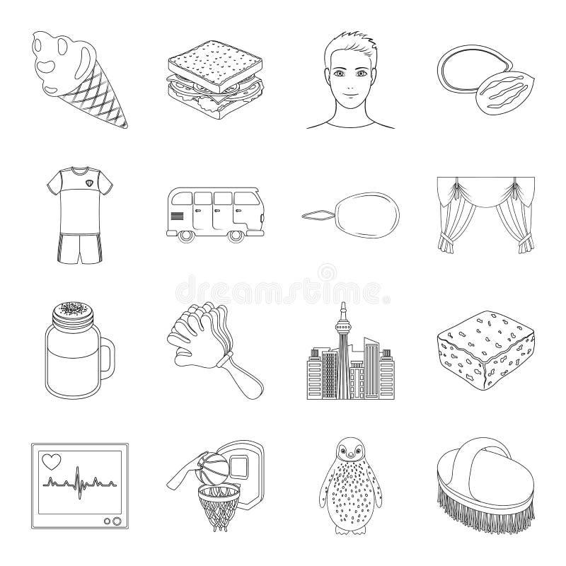 Cerda, manutenção, medicina e o outro ícone da Web no estilo do esboço esporte, alimento, costurando ícones na coleção do grupo ilustração stock