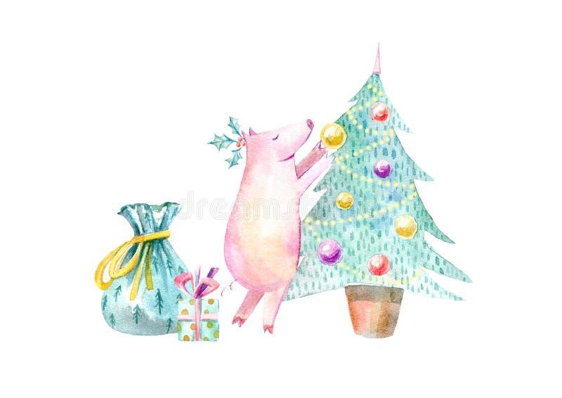 Cerdo, árbol de navidad, bolso y regalo Símbolo del Año Nuevo stock de ilustración