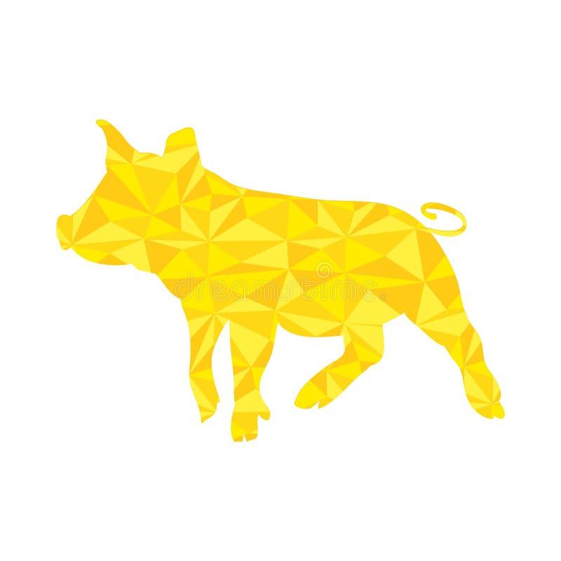 Cerdo amarillo del vector, guarro de oro foto de archivo libre de regalías
