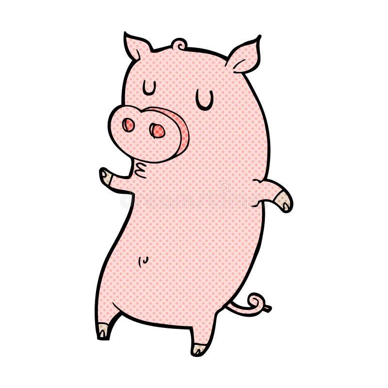 cerdo cómico divertido de la historieta stock de ilustración