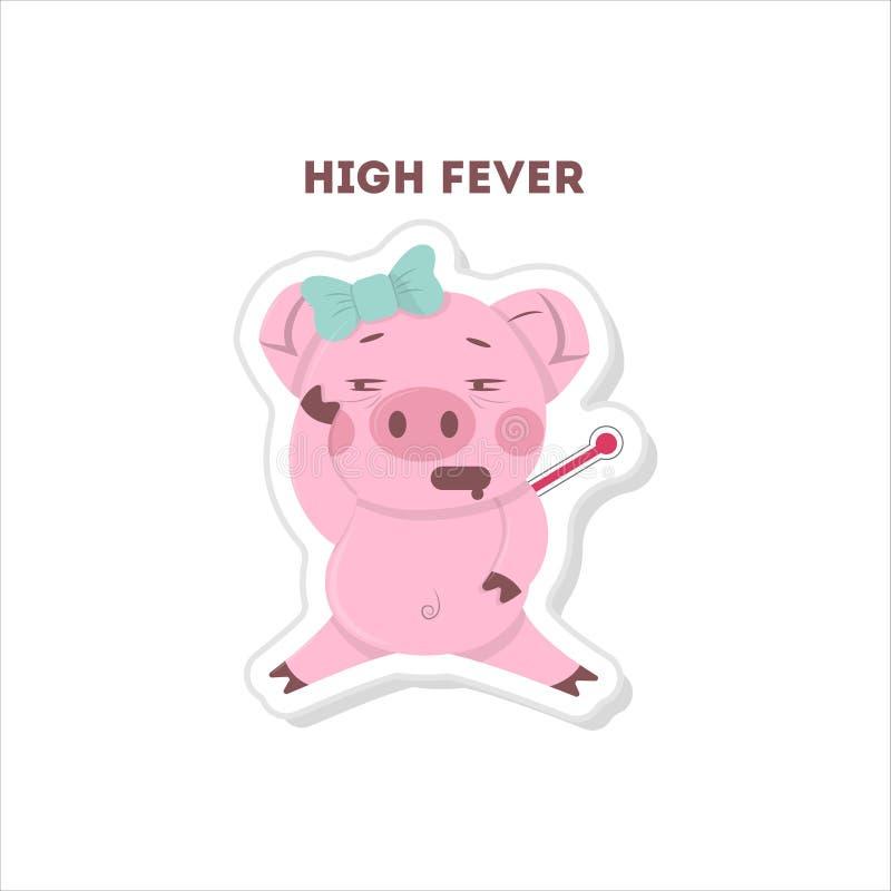Cerdo con alta fiebre stock de ilustración