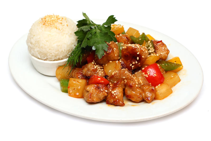 Cerdo con el arroz - alimento gastrónomo asiático fotografía de archivo libre de regalías