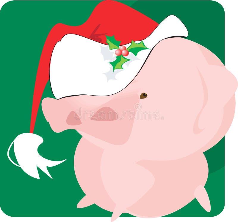 Cerdo con el casquillo de Papá Noel stock de ilustración