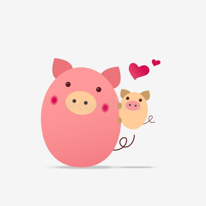 Cerdo con el pequeño cochinillo stock de ilustración