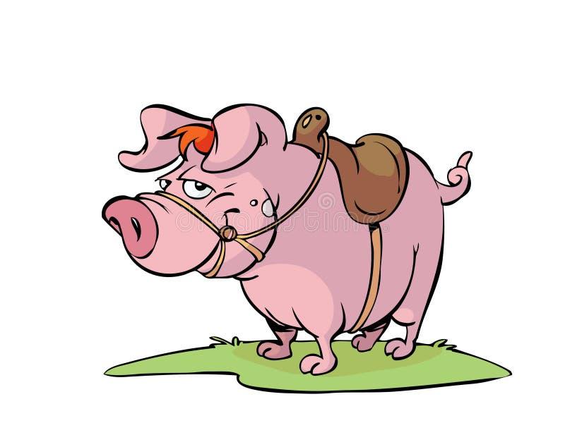 Cerdo con el sadle ilustración del vector