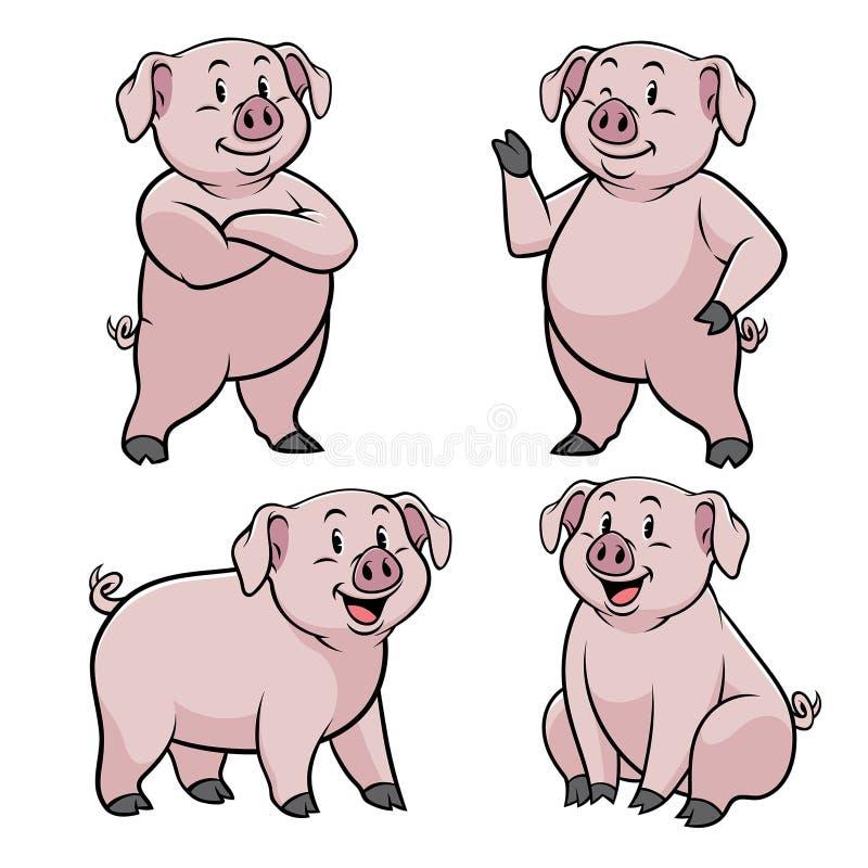 Cerdo con estilo de la historieta en sistema libre illustration