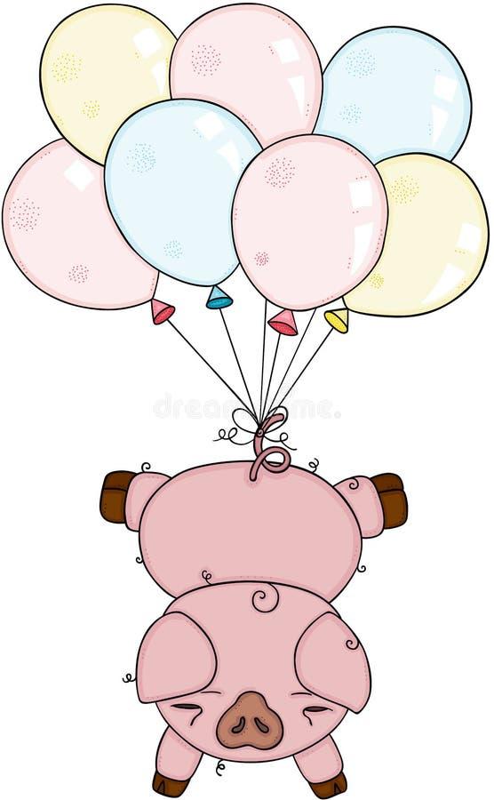 Cerdo con globos montados libre illustration