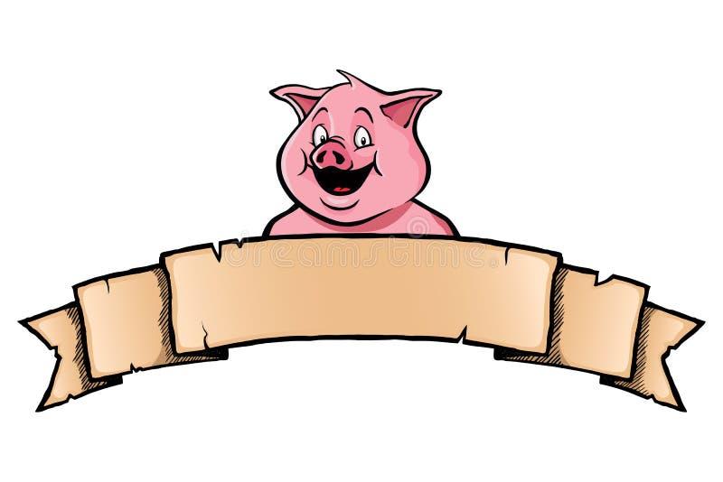 Cerdo con la bandera de la cinta ilustración del vector