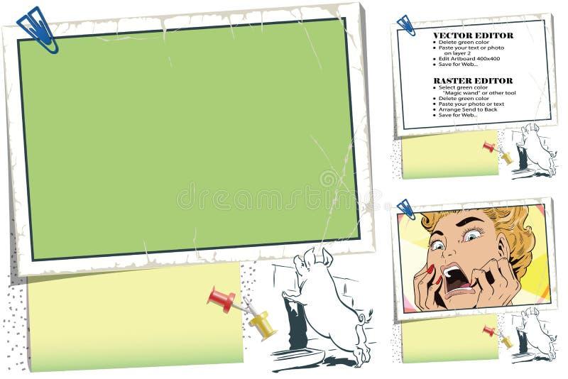 Cerdo curioso Capítulo para el libro de recuerdos, bandera, etiqueta engomada, networ social libre illustration