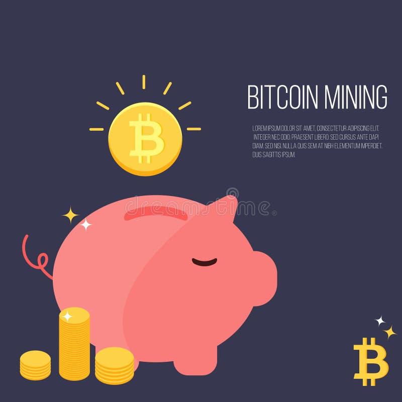 Cerdo de la caja de dinero con el bitcoin que cae libre illustration