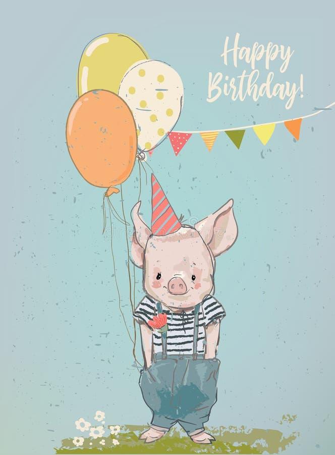 Cerdo de la historieta del cumpleaños pequeño ilustración del vector