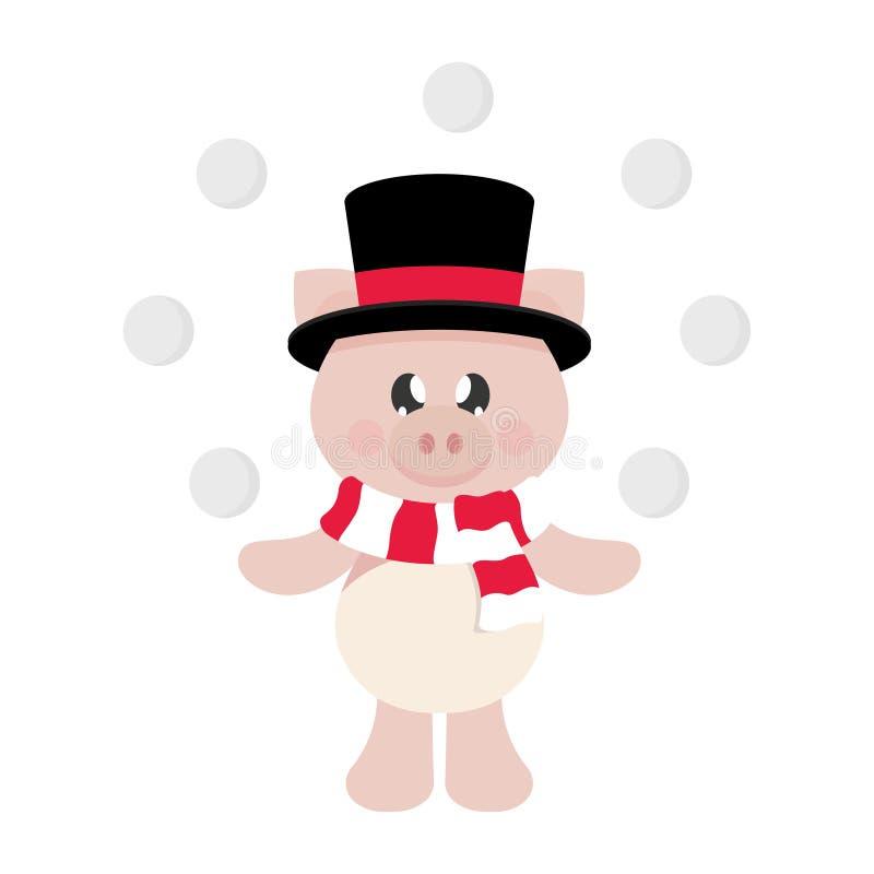 Cerdo de la historieta del invierno con la bufanda en sombrero y bola de nieve ilustración del vector