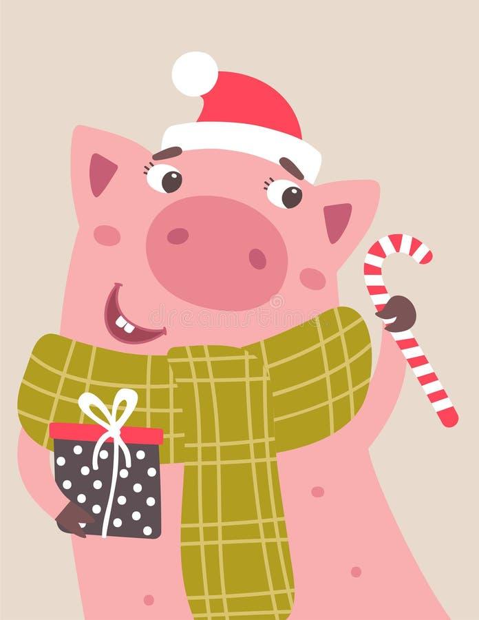 Cerdo de la historieta del vector con la caja y el caramelo de regalo en manos stock de ilustración