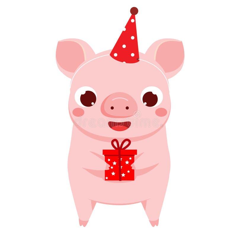 Cerdo de la historieta, símbolo del Año Nuevo 2019 del chinse con la caja de regalo ejemplo del vector para los calendarios y las ilustración del vector