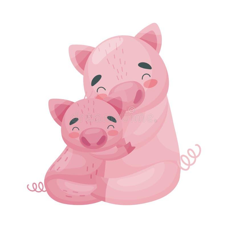Cerdo de la mamá con su bebé Ilustraci?n del vector en el fondo blanco stock de ilustración