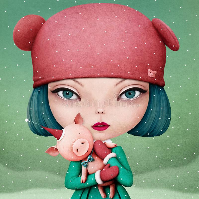 Cerdo de la muchacha y del animal doméstico stock de ilustración