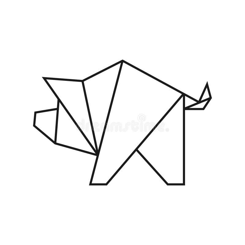 Cerdo De La Papiroflexia Línea Forma Geométrica Para El Arte Del ...