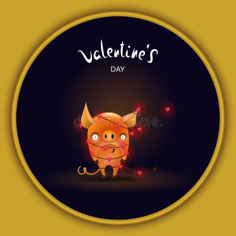 Cerdo de la tarjeta con oscuridad de la guirnalda stock de ilustración