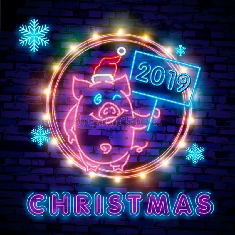 Cerdo de neón lindo Vector chino feliz de la plantilla del diseño del Año Nuevo 2019 Año Nuevo chino de la tarjeta de felicitació stock de ilustración