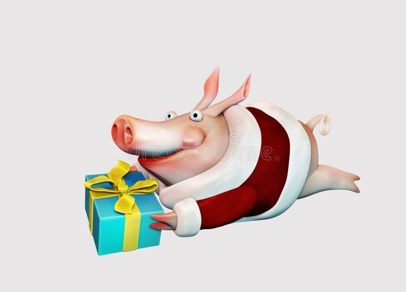 Cerdo del Año Nuevo con el regalo Aislado ilustración del vector