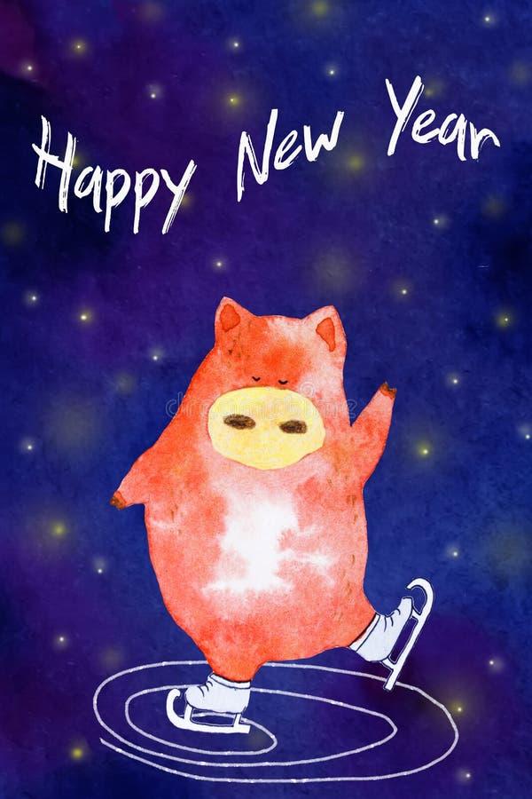 Cerdo del Año Nuevo de la acuarela ilustración del vector