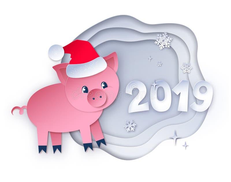 Cerdo del Año Nuevo y 2019 números libre illustration