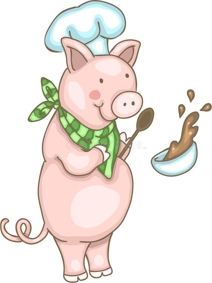 Cerdo del cocinero stock de ilustración