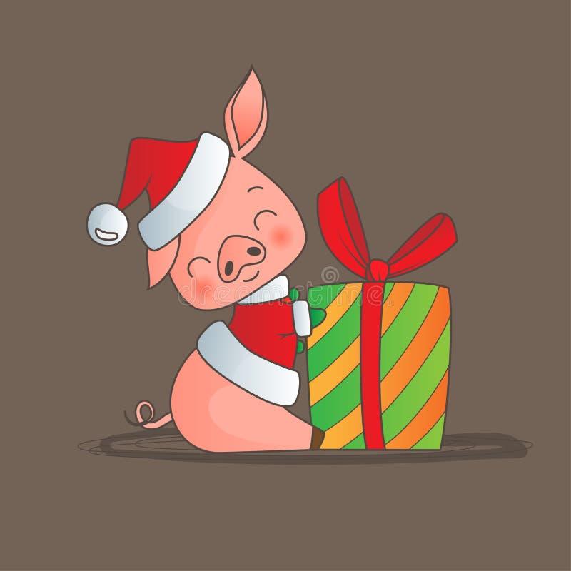 Cerdo del estilo de la historieta que lleva sentarse sonriente del sombrero de Santas con el regalo de la Navidad ilustración del vector