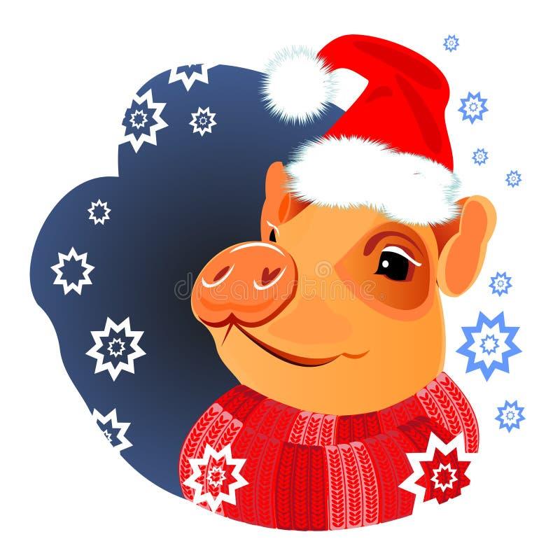 Cerdo del invierno, cerdo, cerdo guarro, feliz, nuevo, Año Nuevo, símbolo 2019, 2019, Año Nuevo, cerdo amarillo, divertido, color ilustración del vector