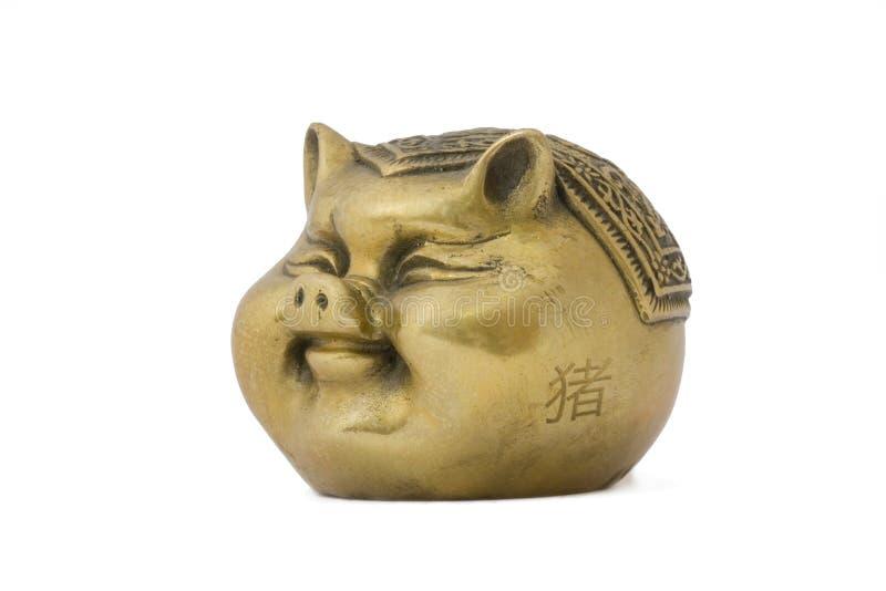 Cerdo del oro - símbolo chino imagen de archivo