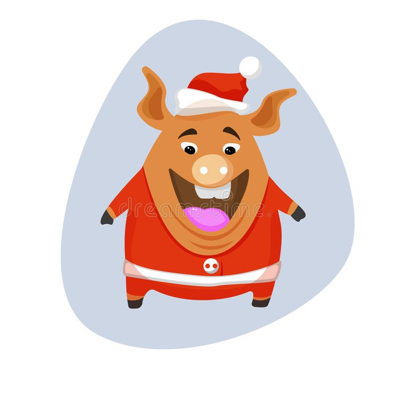 Cerdo del vector - Papá Noel en un casquillo rojo y una bufanda roja libre illustration
