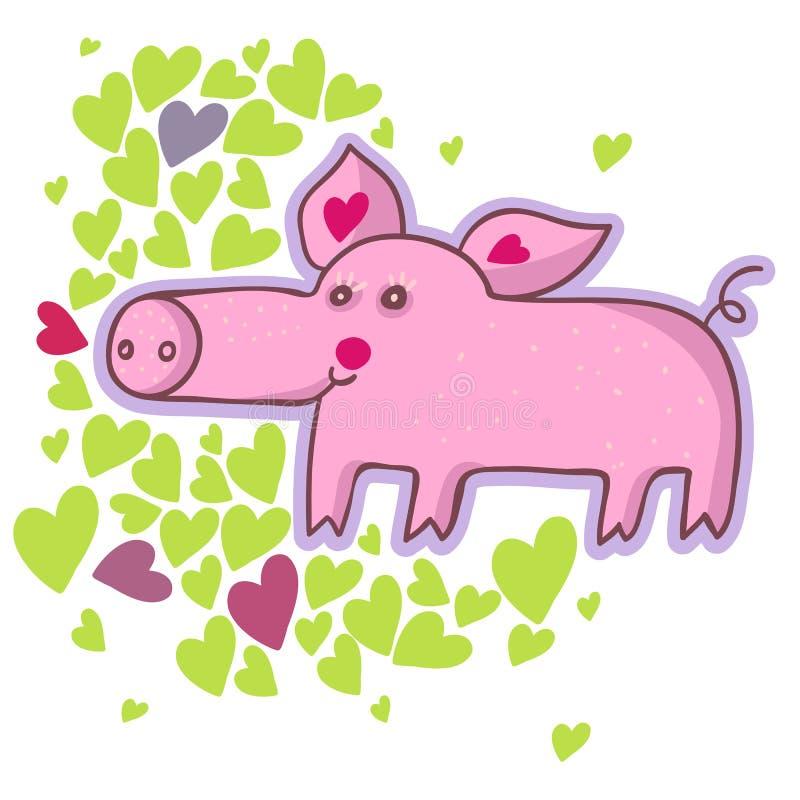 Cerdo divertido de la historieta ilustración del vector