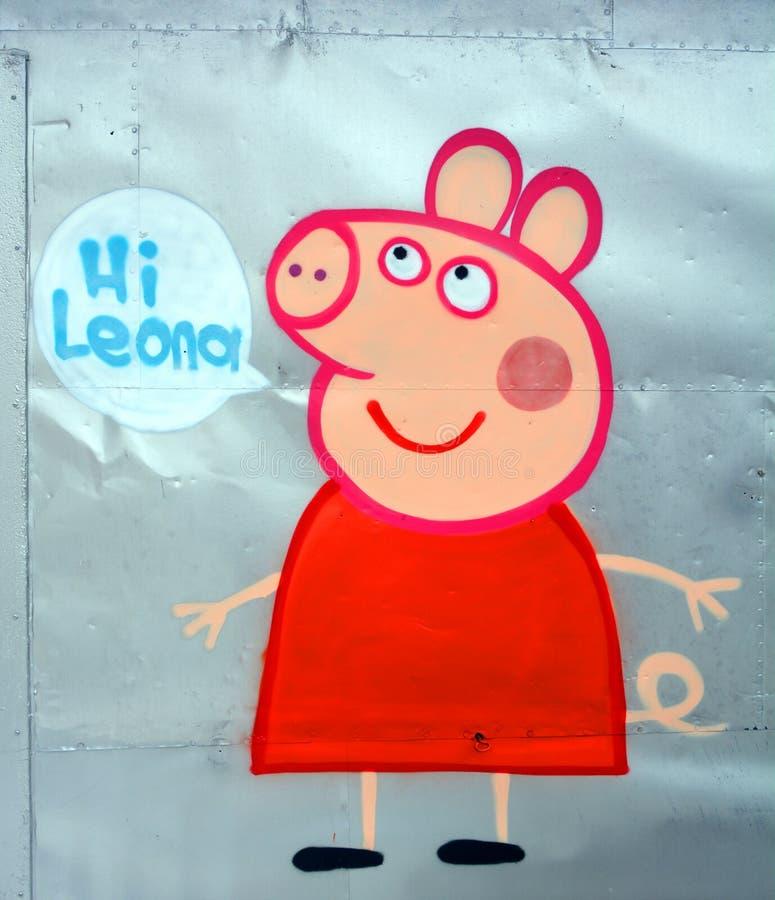 Cerdo divertido del arte de la calle fotografía de archivo