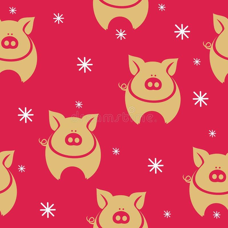Cerdo divertido del modelo del ` s del Año Nuevo stock de ilustración