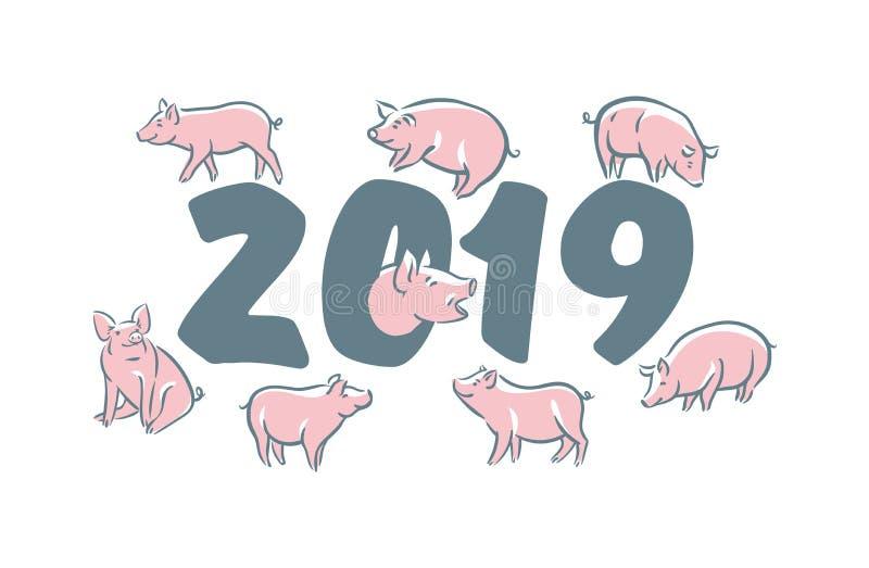 Cerdo divertido lindo Feliz Año Nuevo Símbolo chino de los 2019 años Carte cadeaux festivo excelente Ilustración del vector libre illustration