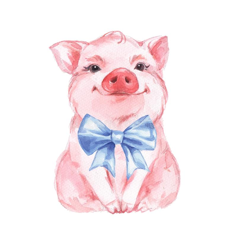Cerdo divertido y arco azul stock de ilustración