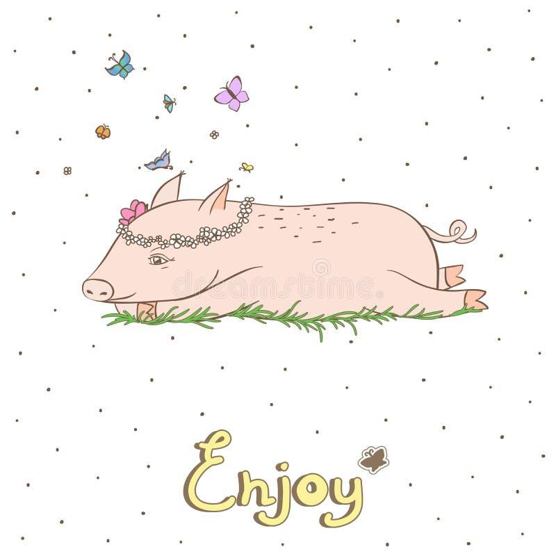 Cerdo elegante 1 stock de ilustración