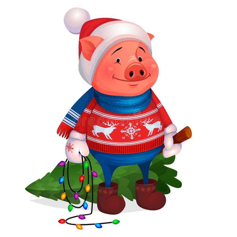 Cerdo en árbol de navidad de la tenencia del suéter Año Nuevo stock de ilustración