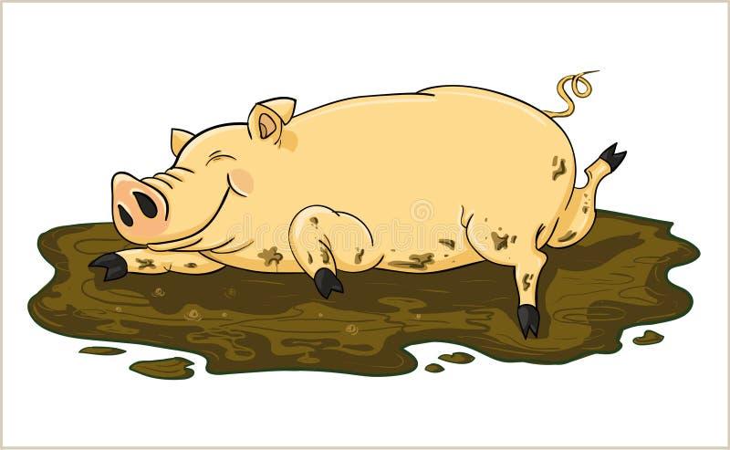 Cerdo en el fango ilustración del vector