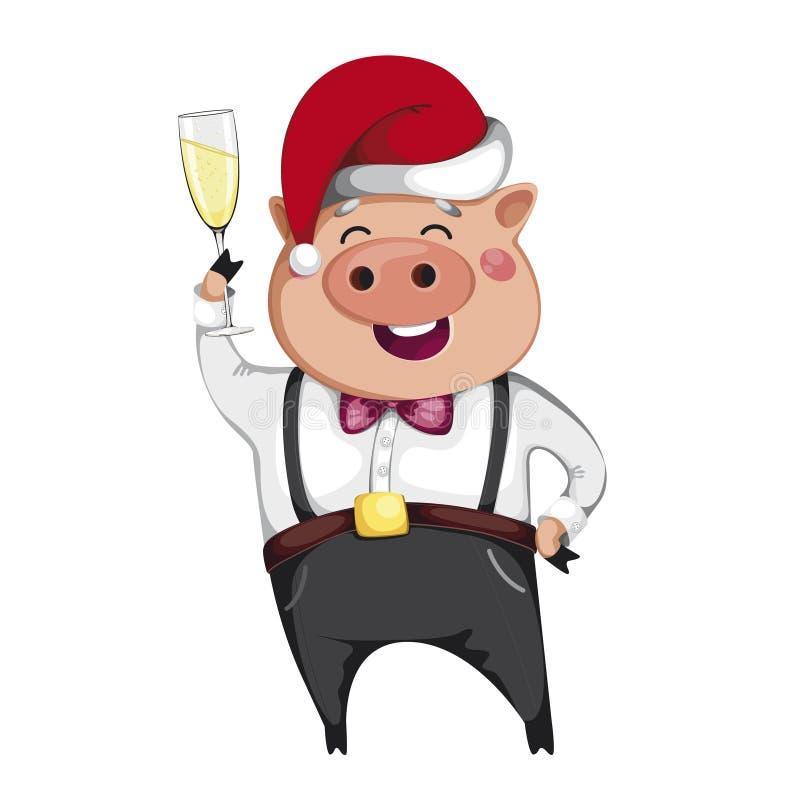 Cerdo en el sombrero de Papá Noel que sostiene un vidrio de champán libre illustration